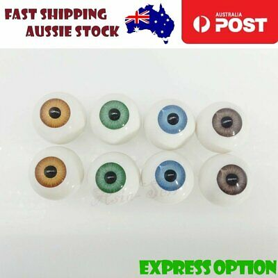 4 Pairs 22mm Doll Eyes BLUE GREEN BROWN TAN Eyeballs Coloured Round Plastic AU