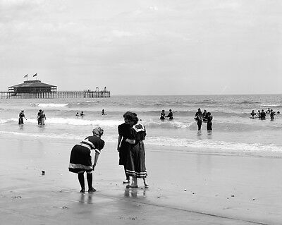 New 8x10 Photo: Old Bathing Suits, Swimming at Old Orchard Beach, Maine - 1900