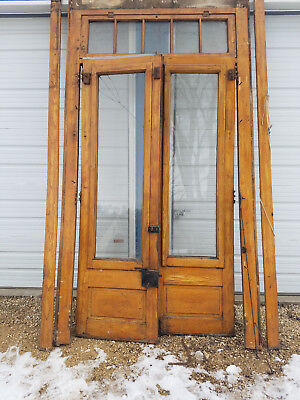Antique Double Entrance Doors With Frame and Hardware - Architectural Salvage