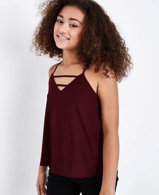 Girls Burgundy Purple Strappy Top In Age 12-13 Years Bnwt