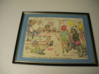 "Original Comical Bar Scene Color Pencil Painting Nice! 11"" X14"" Framed 1967"