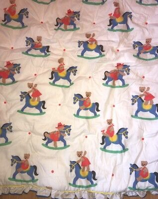Vintage Baby's Comforter Rocking Horses & Teddy Bears FIRST IMPRESSIONS Colorful