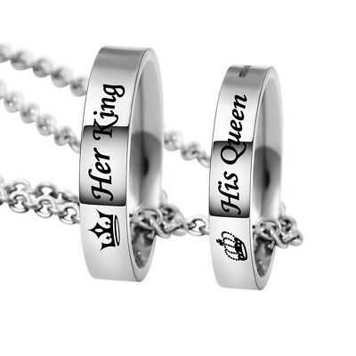 5964a89dce Her King His Queen Stainless Steel Engraved Ring Pendant Couple Necklace Set