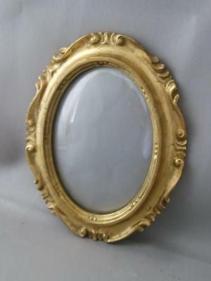 Vtg Italian Florentine Gold Gilt Tole Oval Wood Convex Glass Picture Frame  5X7