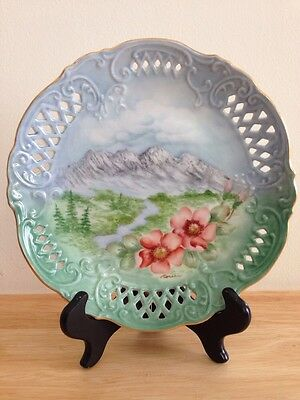 Noreen Shook Hand Painted Plate Landscape Sulphur Mountains Medicine Hat Alberta