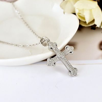 Vintage 925 Sterling Silver Solid Cross Pendant Charm Necklace Antique Style