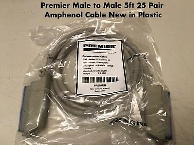 25 Pair Telco Amphenol CAT3 Trunk Cable 50-Pin Female to Female PBX AMP 10ft