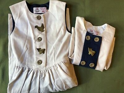 Koralpen Dirndl Austria size 128 linen dress chicken/cow EUC colonial/costume