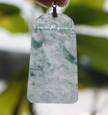 Certified Natural JADE Type A Untreated Icy Green Jadeite Safety Dragon Pendant