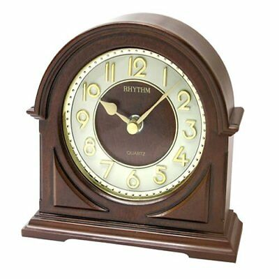 Rythmn Arch Wooden Quartz Mantel CLock with 3D dial and Convex glass face