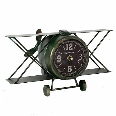 Hometime Metal Mantel Clock - Vintage Aeroplane Bi-Plane in Green and Black