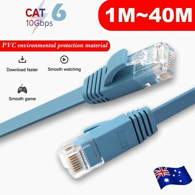 5/10/15/20/25/30M CAT6 RJ45 Ethernet Network Lan Flat Shielded Cable Patch Lead