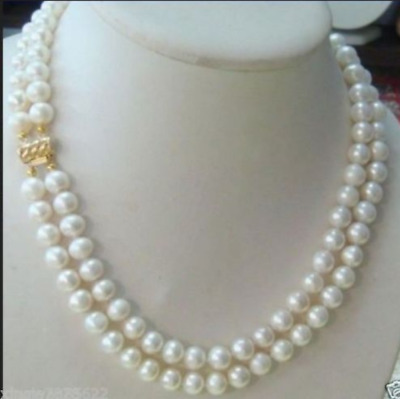 """Genuine 2row 8mm 17/"""" round white freshwater pearls necklace j6555"""