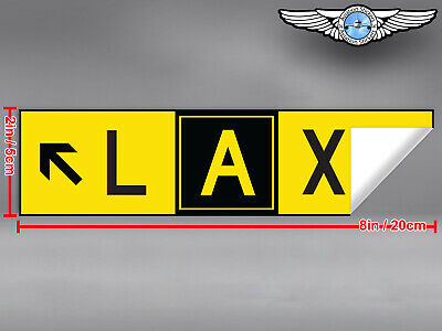2x DIECUT LAX LOS ANGELES AIRPORT TAXIWAY SIGN DECAL STICKER 8x2in/20x5cm