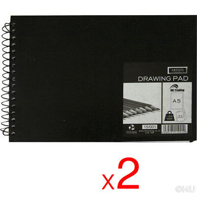 2 X A5 Hardback Drawing Sketch Book Draw Pad Colouring Art Craft Painting 108Pgs