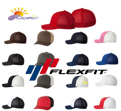 FLEXFIT TRUCKER CAP Fitted Mesh Hat 6511 Baseball Hat - One Size ... 91cbab8fa8ea
