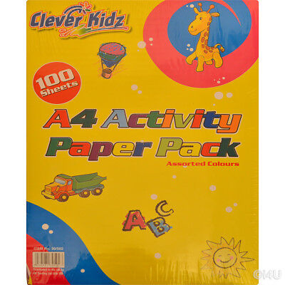 A4 100 Sheet Activity Paper Pad With 8 Colours - Sheets Arts Crafts Stationary