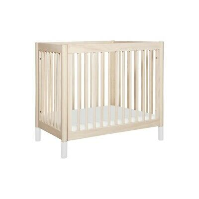 babyletto Gelato 2-in-1 Mini Crib, Washed Natural & White - M12998NXW