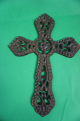 "Antique-Style Decorative Rustic 11.5"" Cast Iron Cross Christian Jesus Christ God"