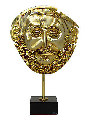 Mask of Agamemnon Gold Plated Relief - Mycenaean King Funeral Mask Reproduction