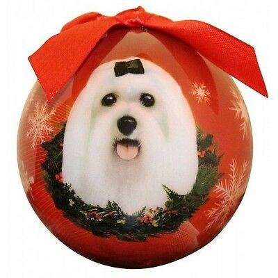 Maltese Christmas Ornament Dog Shatter Proof Ball Snowflakes Red Wreath New
