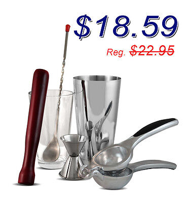 Stainless Steel Mojito Kit Bartending tools (6 Piece), Cocktail Set, Home Bar