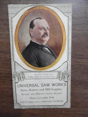 c.1895 Universal Saw Works Grover Cleveland Advertising Blotter Chicago Antique