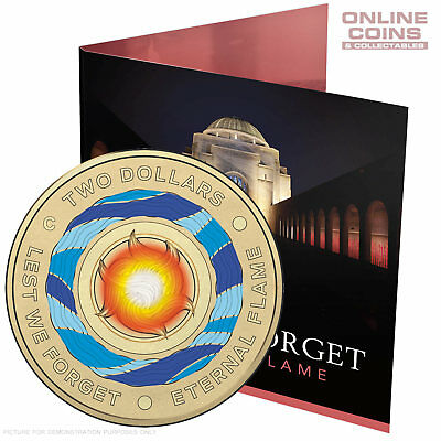 Lest We Forget - Eternal Flame 2018 $2 'C' Mintmark Coloured Uncirculated Coin