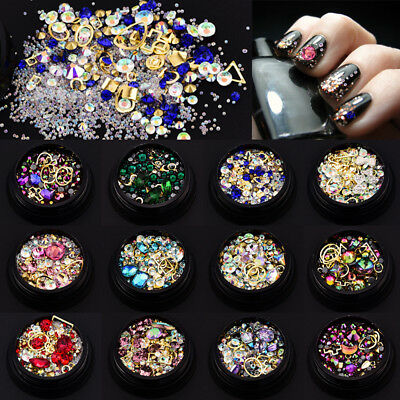 1box Mixed Crystal Pixie Rhinestone Mini Strass Beads 3D Nail Art Accessories