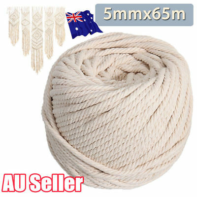5mm Macrame Rope Natural Beige Cotton Twisted Cord Artisan Hand Craft 65M ON