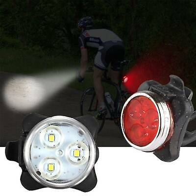 2PCS IPX4 Waterproof Bicycle Bike Front Rear Tail Light Lamp USB Rechargeable