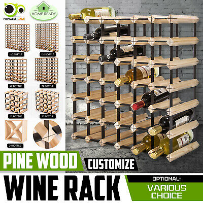 12 20 24 42 72 120 Bottle Timber Wine Rack Wooden Storage System Cellar Display