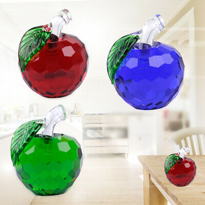 Vintage 3D Apples Figurines Glass Crystal Paperweight Wedding Ornament Gift