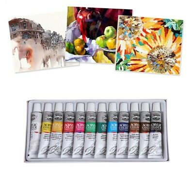 Professional Acrylic Paints Set Heavy Body Textile Painting Brush 12mL 12 Color