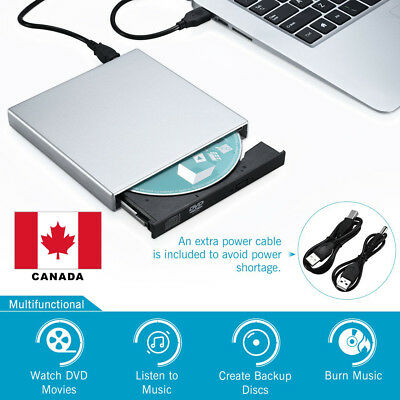USB External CD-RW Burner DVD/CD Reader Player /w 2 USB Cable for Laptop PC CA
