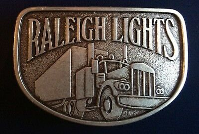 Vintage Raleigh Lights Cigarettes Tobacco Semi Truck Pewter Tone Belt Buckle