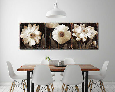 Photo Painting Canvas Floral Vintage White Flower Abstract Art Wall Decor Framed