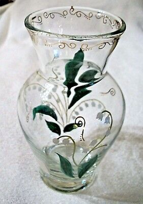 Lenox Flower Vase hand Painted Glass Signed Initial Gold Trim Romania.made  #19