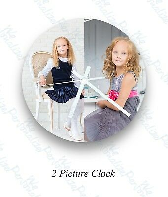 Personalised wall glass clock  2 photo/text/printed Mother's Day Friends Family