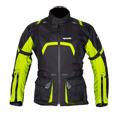 Spada Base Black / Fluo Green Moto Motorcycle Waterproof Jacket | All Sizes