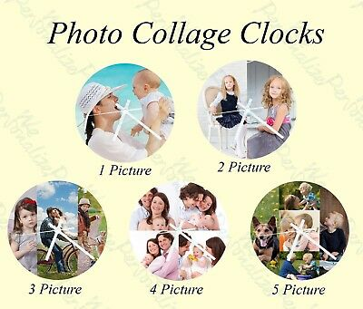 Personalised wall glass clock photo/text /logo for Mother's Day Valentine's Day