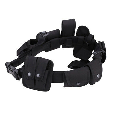 HH- Black Tactical Police Security Guard Duty Belt Utility Pouch Waist Bags Heal