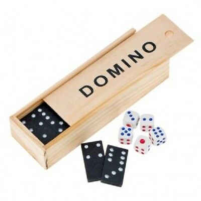 Classic Black Double Six Dominoes Wooden Travel Box Game Children Kids Toys DICE
