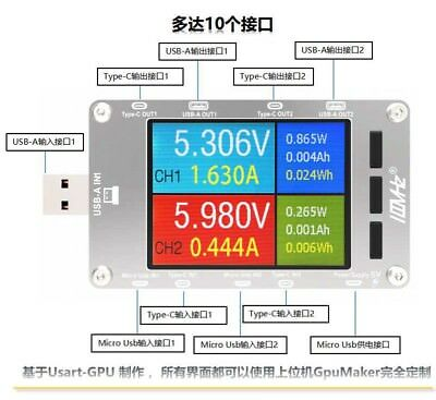 T50N Dual Color USB Voltage Current Power Capacity Meter, QC2.0 QC3.0 PD Test