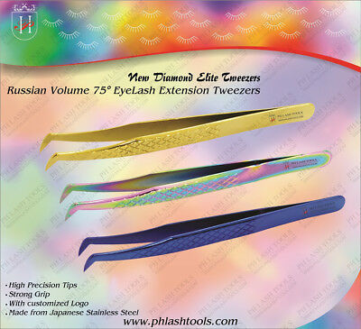 Russian Volume 75° Eyelash Extension Tweezers in Diamond Elite Style