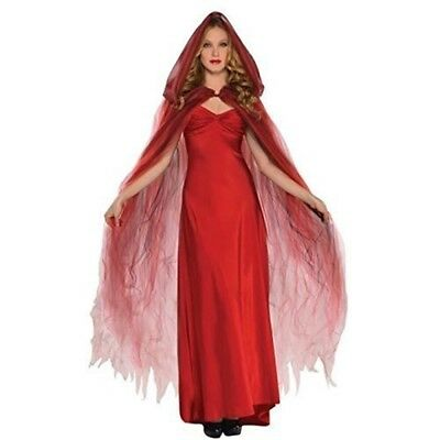 Amscan International Adults Ghost Cape (red) - Red Fancy Dress Halloween Ladies