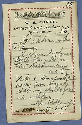 1869 WA Jones Druggist Apothecary Warrenton Missouri Prescription Receipt No 110