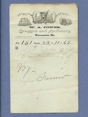 1869 WA Jones Druggist Apothecary Warrenton Missouri Prescription Receipt No 151