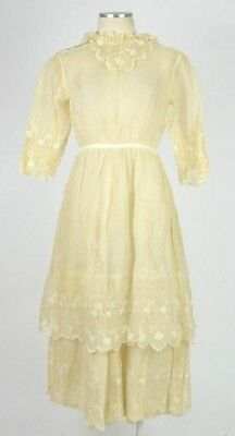 Antique Early 1900s Floral Lace Edwardian Victorian Dress Gown Slip Wedding 2XS