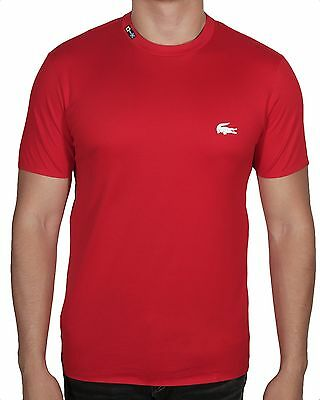 Lacoste Men's Nautical Rubber Crocodile Short Sleeve Tee Shirt TH9092 U1W Red
